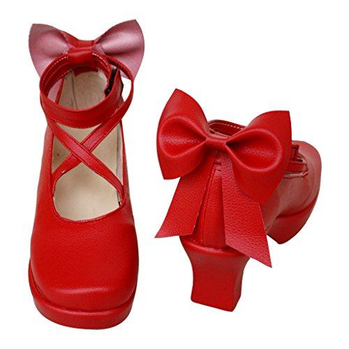 Puella Magi Madoka Magica Schuhe Karneval Schuhe kaname Madoka Cosplay Schuhe Damen Rot (Kostüm Cosplay Madoka)