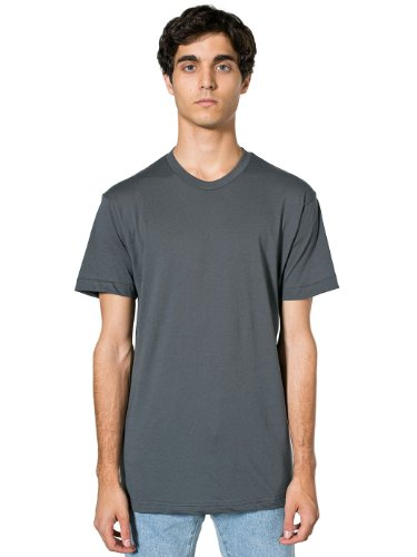 American Apparel Unisex Poly-Cotton Short Sleeve Crew Neck - Asphalt / S (Asphalt Apparel American)