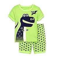EULLA Boys Pyjamas Set Short Sleeve Cotton Dinosaur Nightwear Sleepwear Summer Pjs Outfit Age 1-7