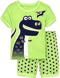 87a3d909fc EULLA Jungen Schlafanzug Set Neuheit Cartoon Dinosaurier Bagger Nachtwäsche  Kurzarm Pyjamas Outfit 86-120 Jahre