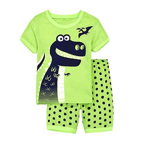 Tarkis Jungen Neuheit Pyjamas Set Cartoon Dinosaurier Nachtwäsche Nachtwäsche Kurzarm Pjs Outfit 92-120 Jahre, 104(Herstellergröße:5T), 1-dinosaurier - Kurze Pyjamas Pjs