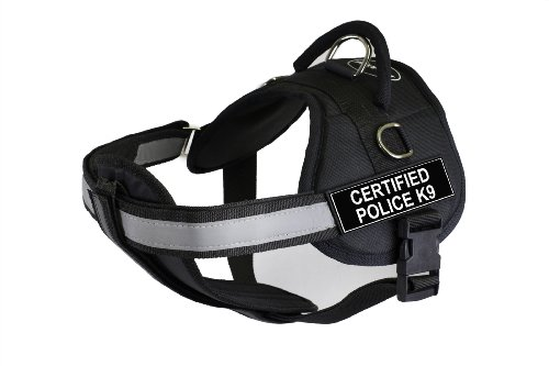 DT Works Harness with Padded Reflective Chest Straps, Certified Police K9, Black, Large - Fits Girth Size: 86cm to 119cm
