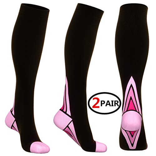 (2 Pairs)Compression Socks / Stockings for Men & Women,Speed Up Recovery BEST Graduated Athletic Fit for Travel, Running, Nurses, Shin Splints, Flight & Maternity Pregnancy. Boost Stamina, Circulation