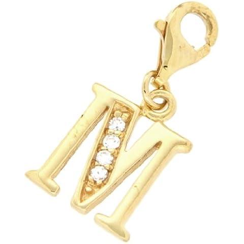 Tuscany-Collana in argento placcato oro e Zirconia cubica, a forma di lettera iniziale M