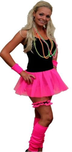 Neon Pleated Tutu 1980s Clubbers Fancy Dress Dancewear Hen Party UK (Neon Pink tutu only)