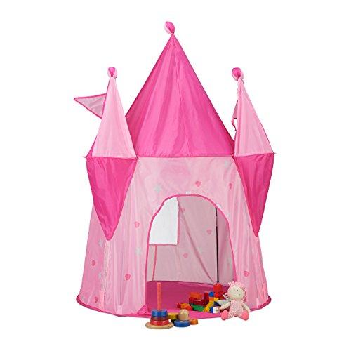 Relaxdays Spielzelt Schloss, Kinderzelt Mädchen, Kinderspielzelt Prinzessin, ab 3 Jahre, HxBxT: 150 x 100 x 100 cm, rosa