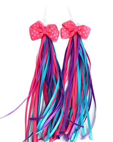 HugeDE 2 Stück Lenkerfransen Streamer Bändchen Tassel Ribbon für Kinderfahrrad mit Bowknot Blau
