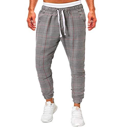 Dwevkeful  Die BeiläUfige Karierte Taschenschnur-Sporthose Der Mode-MäNner Trousers Pants Hosen Bewegung Mode