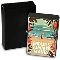 Encendedor Cromo De Gasolina Recargable Retro Flores surfista tabla de surf de la playa de hibisco