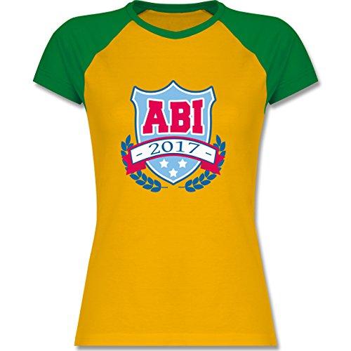 Abi & Abschluss - ABI 2017 Badge - zweifarbiges Baseballshirt / Raglan T-Shirt für Damen Gelb/Grün