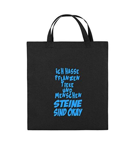 Comedy Bags - ICH HASSE PFLANZEN TIERE - Jutebeutel - kurze Henkel - 38x42cm - Farbe: Schwarz / Silber Schwarz / Blau
