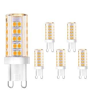 Creyer G9 5W LED Bulbs, No Flicker, 420 LM, 63 X 2835 LED SMD, 5W Equivalent to 40W Halogen Bulbs, Warm White(2900K), Non-Dimmable, AV220-240V G9 Energy Saving Light Bulbs - Pack of 5