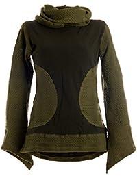 Vishes - Alternative Bekleidung - Damen Pullover aus Baumwolle mit Schalkragen