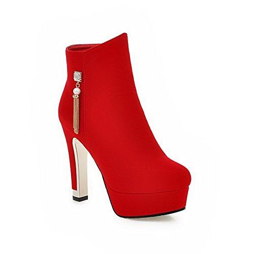 AgooLar Damen Reißverschluss Blockabsatz Niedrig-Spitze Stiefel mit Metall Schnalle, Rot, 38