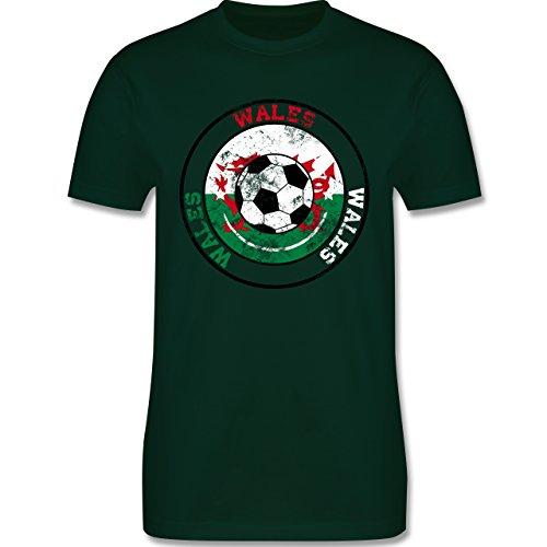 EM 2016 - Frankreich - Wales Kreis & Fußball Vintage - Herren Premium T-Shirt Dunkelgrün