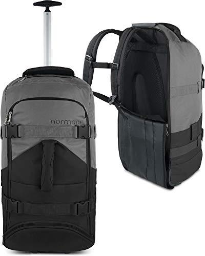 normani Backpacker Reisetaschen-Rucksack mit Trolleyfunktion - Trolley mit Frontloader Funktion und vielen Taschen 60 Liter Farbe Schwarz/Grau
