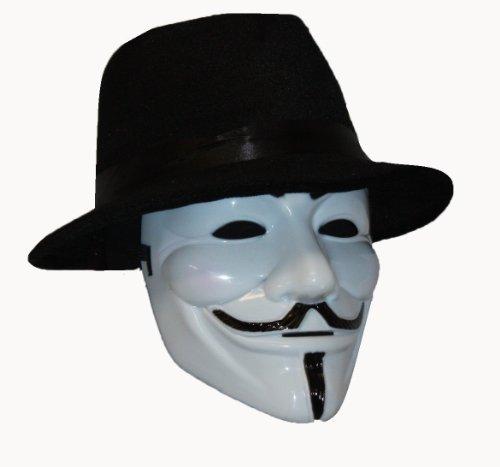 """Hut und Maske """"Anonymous V For Vendetta"""" von Guy Fawkes, nach dem Motto: """"Wir sind 99%"""" und """"Sei ungehorsam!"""" (Sind Wir Maske Anonymous)"""