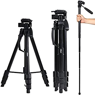 Albott 178CM beweglicher Kamera-Reisen Aluminium-Stativ Einbeinstativ & Stativ Monopod & 3-Wege-Kopf SLR-Kamera Canon Nikon Petax Sony Tripod mit Tragetasche