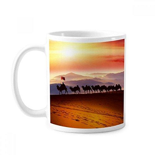 DIYthinker Flag Reise Seidenstraße Kamel-Wüsten-Klassiker Tasse Weiß Keramik Keramik-Schalen-Geschenk Milch Kaffee mit Griffen 350 Ml Multi - Kamel Griff