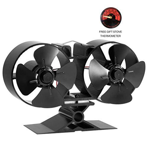 Kaminofen-ventilator - Doppelmotor - 8 Klingen Kaminofenventilator Speziell für großen Raum für Kamin, Holz/Holzscheite (kleine Größe), Schwarz