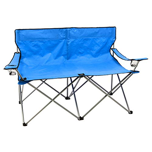 SONLEX Campingbank Faltbank 2-Sitzer Angelstuhl klappbar blau mit Getränkehalter Tragetasche