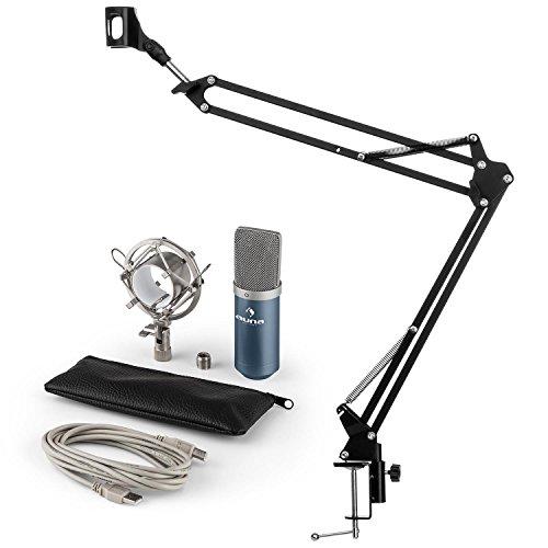 auna MIC-900BL • Mikrofonset V3 • Kondensatormikrofon + Mikrofonarm • USB-Mikrofon • blau • Nierencharakteristik • Mikrofonspinne • Mikrofonarm • 1,5 kg Tragkraft • Klemmschraube • blau-schwarz