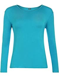 fdde37ed9ed Ladies Long Sleeve T-Shirt Womens Stretch Plain Top Plus Sizes(UK 8-
