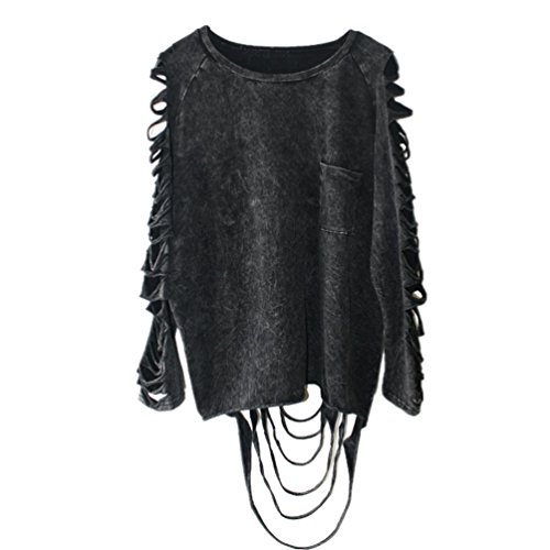 Dooxi Donna Casuale Rotondo Collo Manica Lunga Felpa Pullover Moda Punk Strappato T-Shirts Tops Clubwear Nero