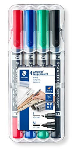 Staedtler Lumocolor duo 348 WP4 permanent marker, 4 Stück in aufstellbarer Staedtler-Box , Schwarz, Blau, Grün, Rot