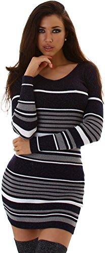Streifen Strickkleid Longpulli Pulloverkleid, Blue