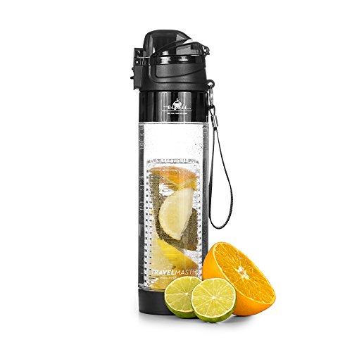 Oishii Travel Master Trinkflasche 0,7 L Travel Infuser inklusive Fruchteinsatz, Transparent/Schwarz (Handschlaufe Flasche Wasser)