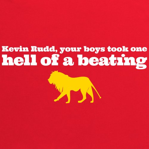 Lions 2013 Kevin Rudd T-Shirt, Herren Rot