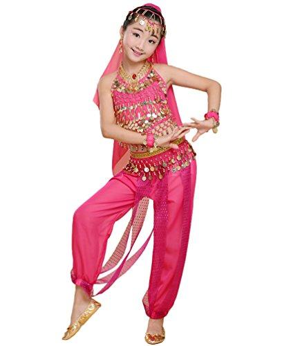 Anguang Mädchen Kinder Bauchtanz Kostüm Set Halloween Karneval Hosen Tanzkleidung Rose#2 M