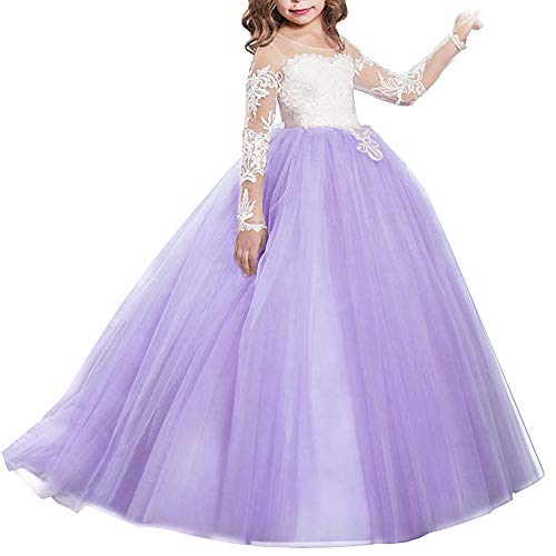 IWEMEK Brautjungfer Hochzeitskleid für Mädchen Blumenmädchen Festkleider Prinzessin Lange Ärmel...
