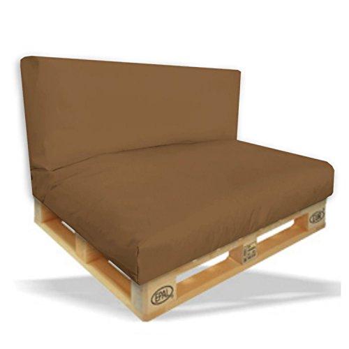 Palettenkissen 2er Set - Sitzpolster 120x80x15cm + Rückenkissen 120x40x10cm Farbe Braun -