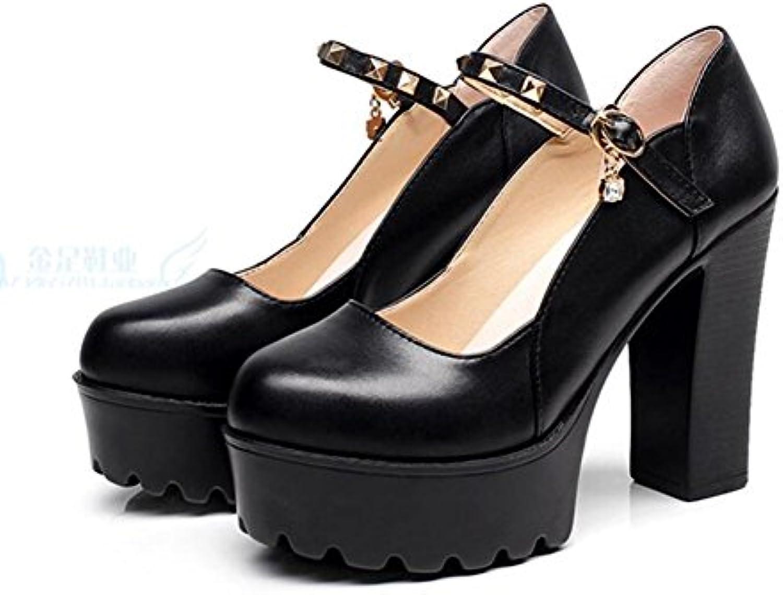 Chaussures à Talons Hauts Femmes Plate-Forme Ronde tête Peu Peu Peu Profonde Bouche Rivet Fond épais Banquet 11cmB07G15RG17Parent bbf3b5