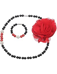 Daizy Red Flower and Imitation Black Pearl Jewellery set of Necklace and Bracelet for Girls