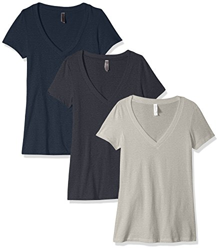 Clementine Damen Petite Shirt mit tiefem V-Ausschnitt (Pack von 3) Medium Charcoal Grey/Dark Heather Gray/Midnight Navy (Gray Charcoal Heather)