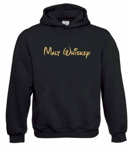 Hoodie Malt Whiskey, Kapuzen Sweatshirt, Schwarz/Gold, XXL (Sweatshirt Whiskey)