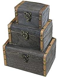 3pcs Caja de Caso Del Organizador De La Joyería De Almacenamiento Hogar Cofre Del Tesoro De Madera De La Vendimia