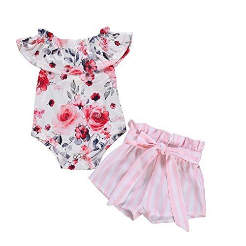 Baby Mädchen Sommer Outfits Kleidung Set 2Stück Toddler Kinder Rüschen Ärmellos Blumendruck Body + Gestreiftes Shorts Neugeborenes Kleinkind Schlichtes Kleidungsset Zweiteiliges ()