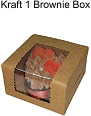 Cake Decor Kraft Brownie Boxes 1 Cavity with Clear Window, Cupcake Carriers, Brown, 10 Pc Pack
