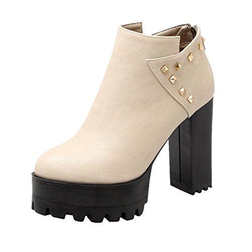 Mee Shoes Damen runde mit Nieten Reißverschluss chunky heels Plateau Ankle Boots Beige