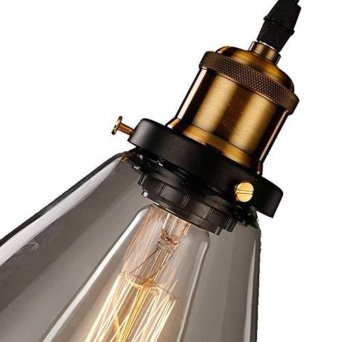 Braune Pendelleuchte (C-LT Pendelleuchte Braunes Glas Lampenschirme Kronleuchter Retro Messing Zähler Industrielle Anhänger Deckenleuchte Loft Zierleiste Klar, klar)
