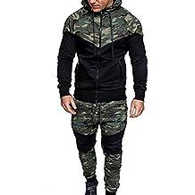 Amlaiworld Chándal de otoño invierno hombres Traje de deportiva hombres Camuflaje sudadera + pantalones conjuntos (