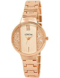 Star Villa Present Attractive Rose Gold Chain Analogue White Round Dial Diamond Designer Watch For Women And Girls