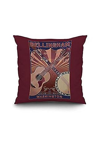 Bellingham, Washington - Guitar and Banjo (18x18 Spun Polyester Pillow