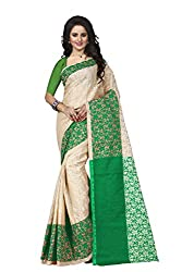 Trendz Womens Cotton Silk Saree(TZ_Padmavati_Green_Green_Free Size)