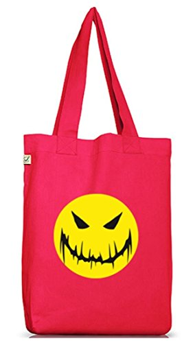 Shirtstreet24, HALLOWEEN SMILEY, Grusel Kostüm Jutebeutel Stoff Tasche Earth Positive Hot Pink