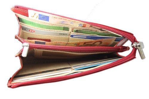 Tony Perotti TP2596G Geldbörse aus italienischem pflanzlichem Leder, groß, Rot -